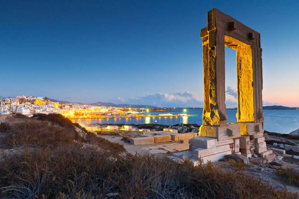 The ancient Temple of Apollo, known as the Portara, or doorway, on the island of Naxos.