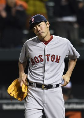 Red Sox closer Koji Uehara reacted after yielding the game-tying run in the 10th inning.