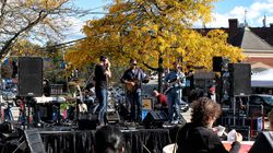 Local band the Buzzkill Ramblers performs at the Newton Harvest Fair Oct. 17.