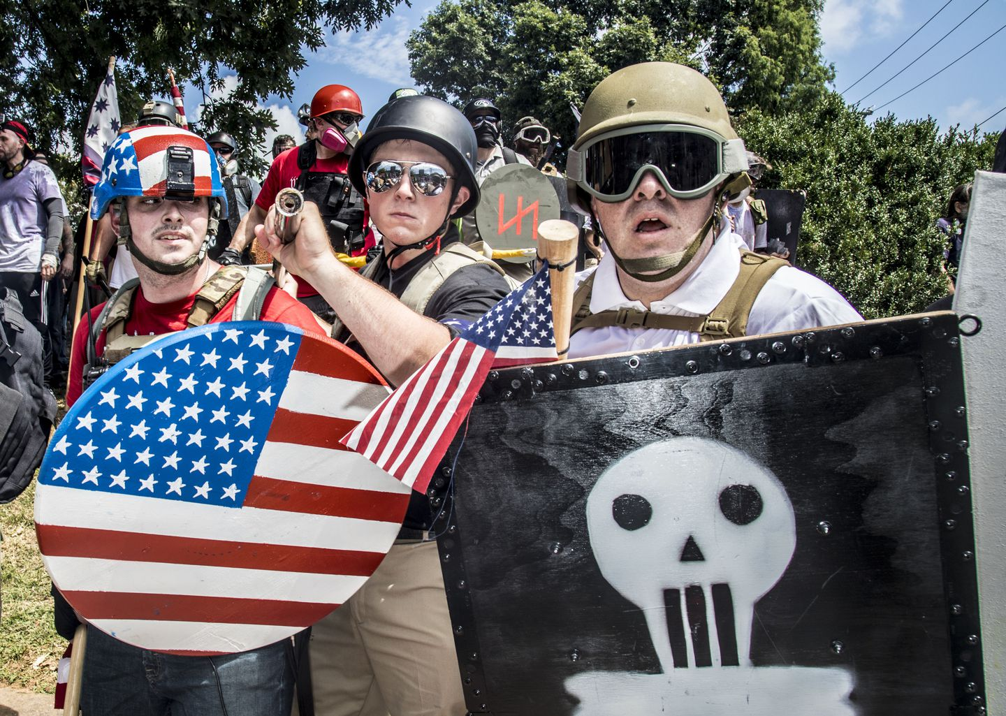 Bob Martin (right) participated in a demonstration with hundreds of white nationalists in Charlottesville, Va., last August.