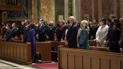 Joe Biden and his wife Jill Biden attend Mass at St. Matthews in Washington on the morning of his inauguration, Jan. 20.