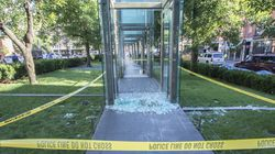 Vandals damaged a pane of glass at the New England Holocaust Memorial in Boston in June 2017.