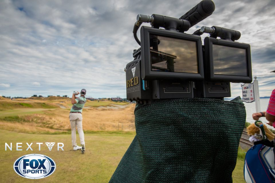 One of five shoebox-sized camera rigs that NextVR placed on the course where the 2015 US Open was played. The camera rigs captured footage used for real-time virtual reality experiences of the golf tournament.