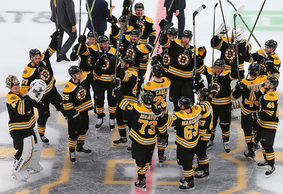 The Bruins saluted their fans after eliminating the  Maple Leafs in Game 7.