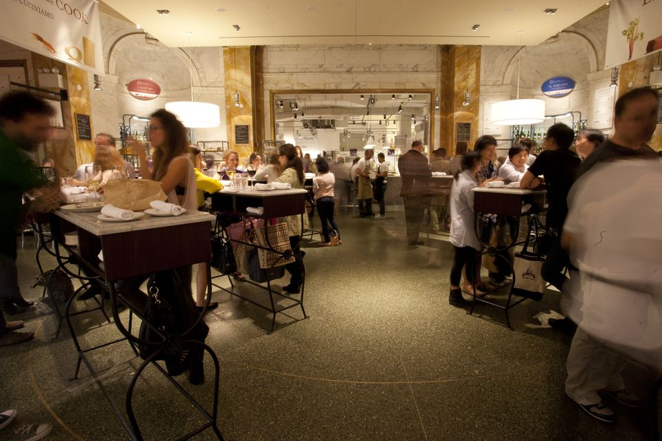 A dining aream the Piazza, at the New York Eataly.