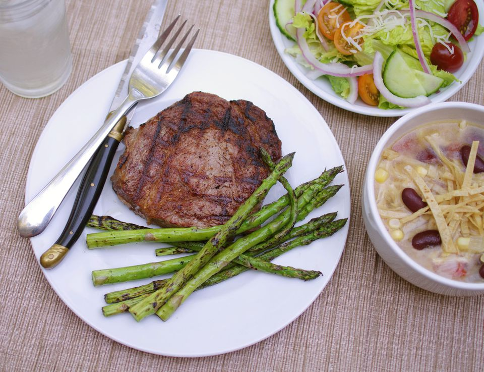 The made-at-home meal of rib-eye steak, asparagus, tortilla soup, and salad was ultimately cheaper than the Outback version.