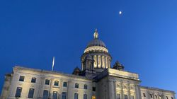 The Rhode Island State House on Thursday evening.