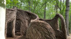 """""""Wildwood"""" (2019) by Patrick Dougherty: willow branches and saplings."""