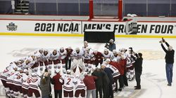 The University of Massachusetts hockey team was all together at the culmination of a long journey as the Minutemen celebrated their victory over St. Cloud State in the NCAA championship, the program's first national title.