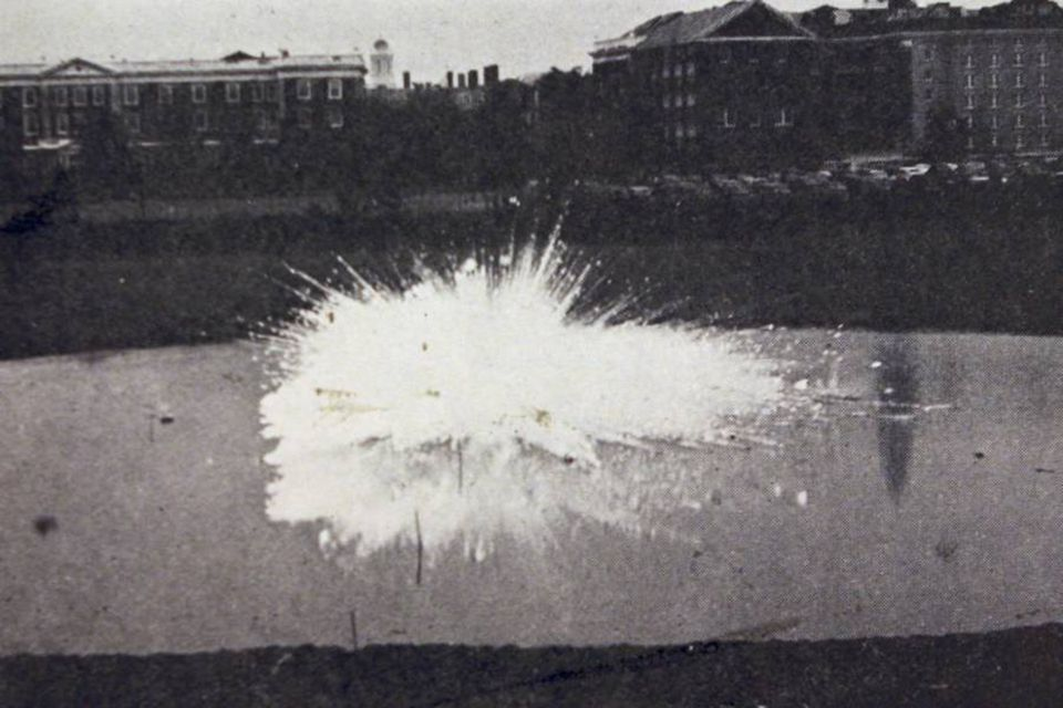 In 1942, Harvard scientists conducted the first test of a napalm bomb in a pond dug behind the Business School.