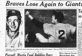 An image of Piersall taunting Martin from dugout that ran in the Globe after the fight.