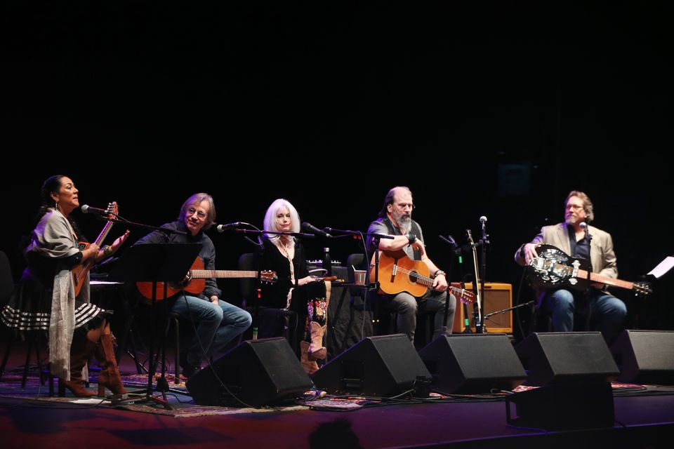 From left: Lila Downs, Jackson Browne, Emmylou Harris, Steve Earle, and Jerry Douglas onstage at the Orpheum Theater on Saturday night.