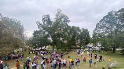 Newton residents played 19th century lawn games at the Homestead Hayfest Oct. 3.