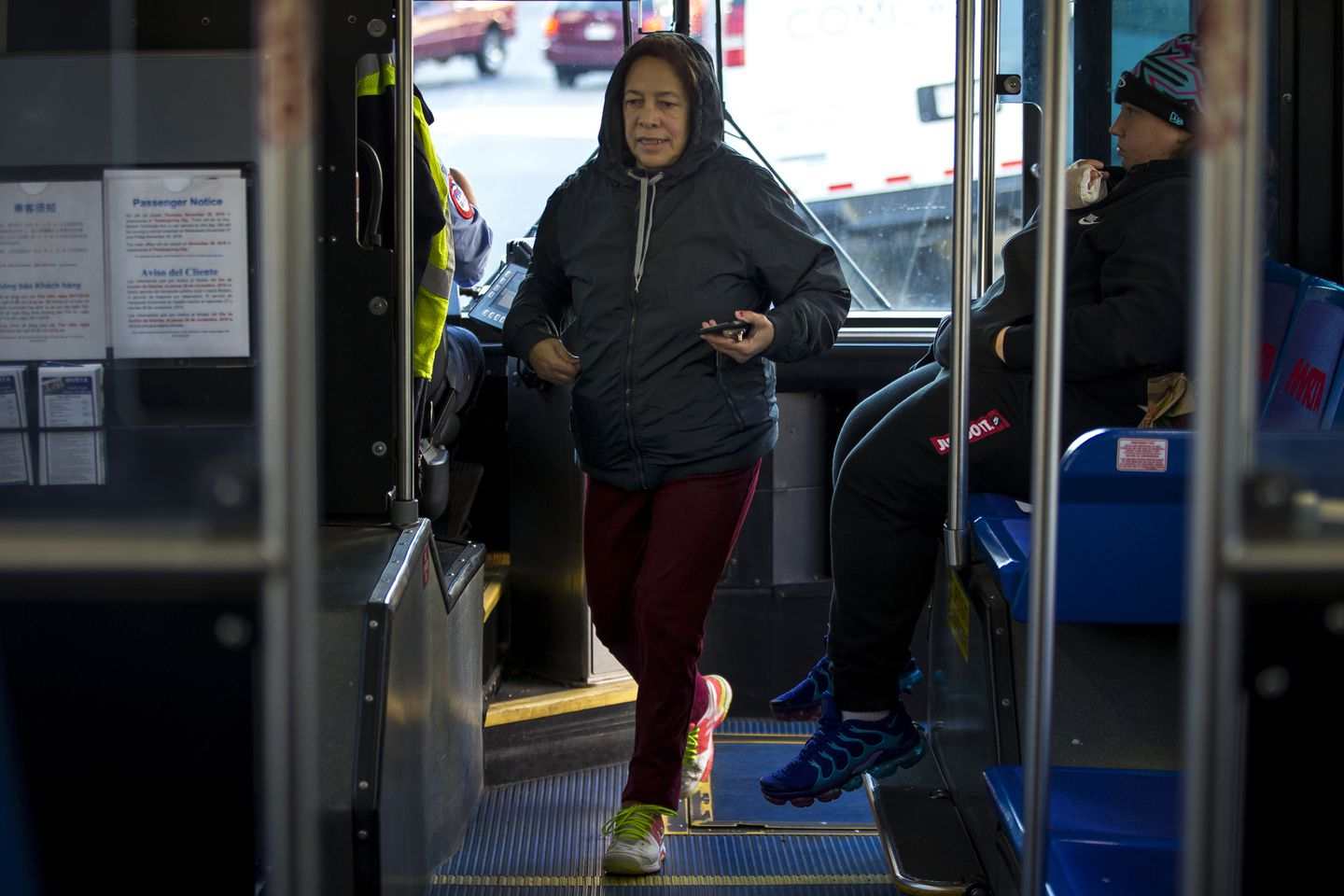 Francisca Segura rides one of three subsidized bus routes in Lawrence.