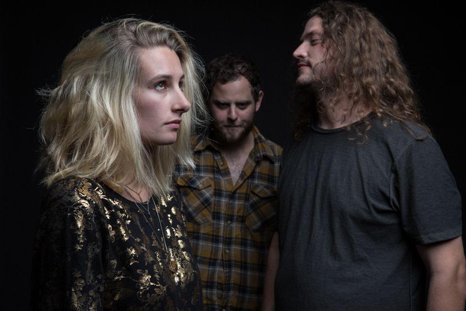 From left: Brookline native Leah Wellbaum (vocals and guitar), Will Gorin(drums) and Kyle Bann (bass) of Slothrust.