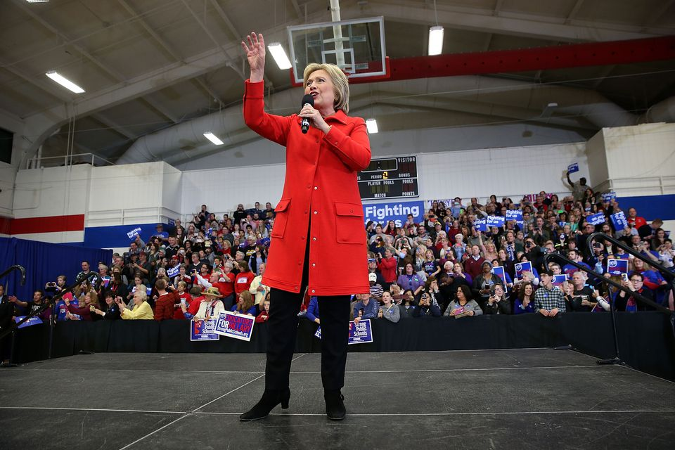 "Democratic presidential candidate former Secretary of State Hillary Clinton spoke during a ""get out to caucus"" event at Washington High School in Cedar Rapids, Iowa."