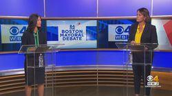 Michelle Wu (left) and Annissa Essaibi George during their last debate Oct. 13 at WBZ-TV.  Photo/WBZ-TV