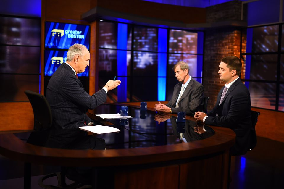 Longtime incumbent Bill Galvin and his challenger Josh Zakim (right) debated on WGBH's Greater Boston with Jim Braude (left).