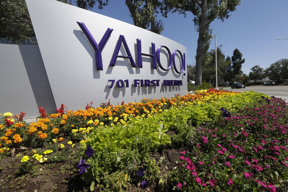 A Yahoo sign at the company's headquarters in Sunnyvale, Calif.