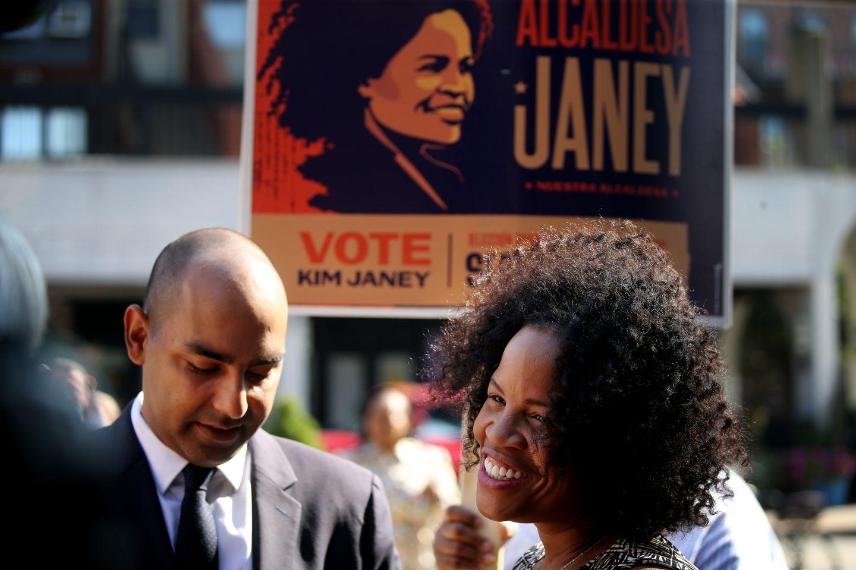 Former mayoral candidate Jon Santiago (left) endorsed Acting Mayor Kim Janey.