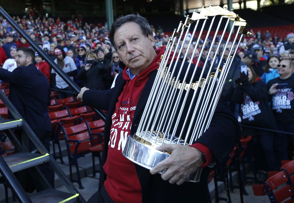 Red Sox chairman Tom Werner with the 2018 World Series trophy.