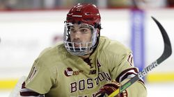 Boston College's Jack McBain has started his senior season with a four-game point streak and is tied for the Hockey East lead with 7 points (1-6-7).