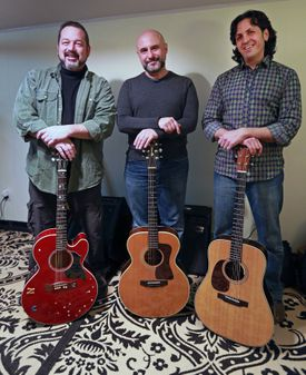 """""""We had this competitive and supportive relationship among us,"""" says Jon Svetkey (above right), about his fellow folk mates in End Construction, Brian Doser and Jim Infantino (above, from left) and Ellis Paul (below)."""