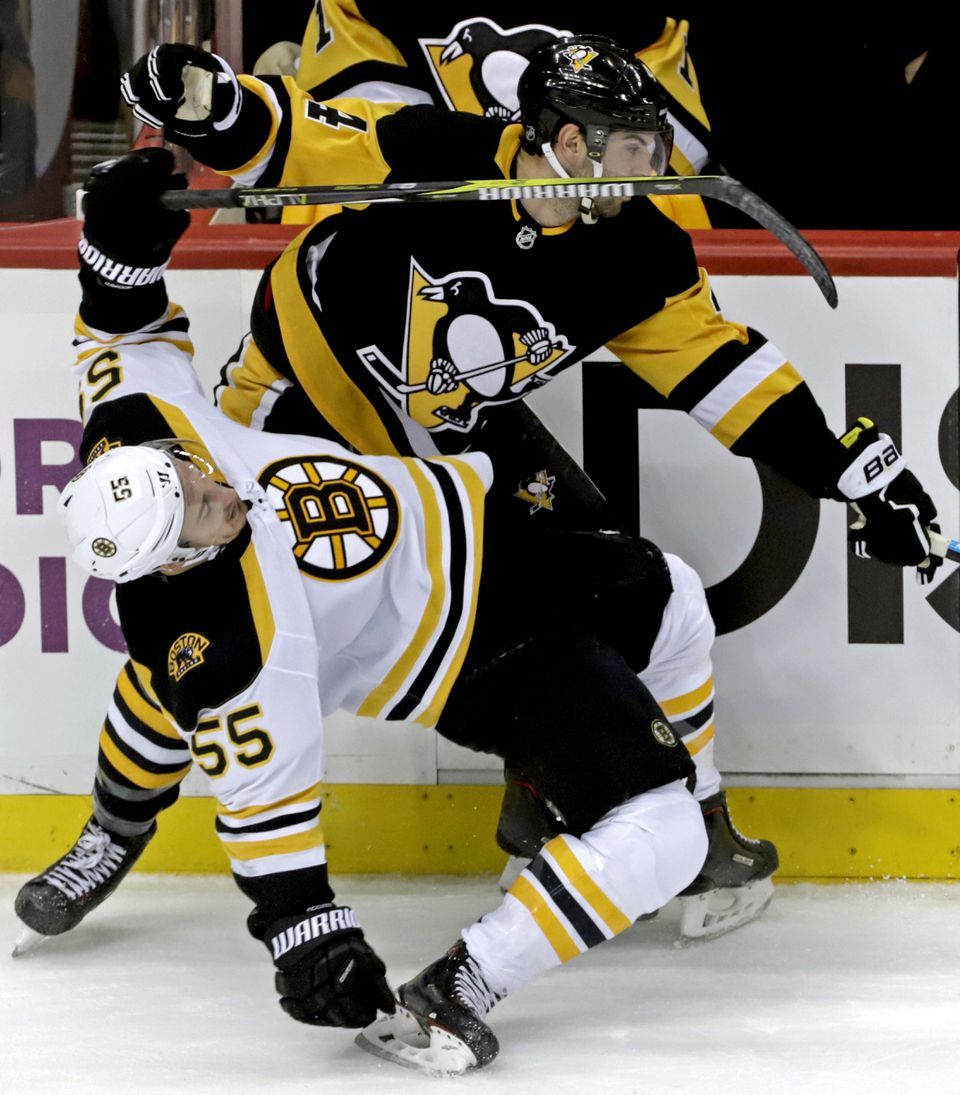 Noel Acciari managed to emerge unscathed after taking an awkward tumble following his violent board meeting with Pittsburgh's Justin Schultz.