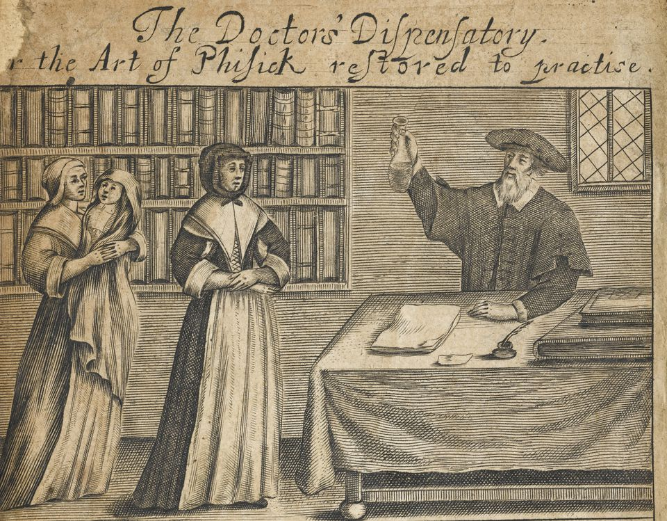 A drawing of a doctor's dispensary from 1700s Boston.