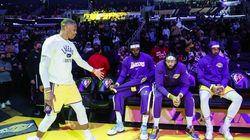 Four current Lakers made the NBA's 75th Anniversary Team (from left): Russell Westbrook, LeBron James, Anthony Davis, and Carmelo Anthony.