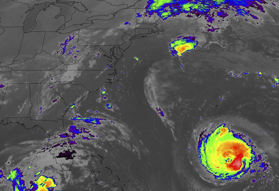 An infrared image shows Hurricane Florence as it moves toward the US East Coast.