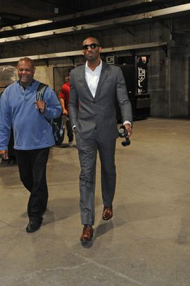 George Mumford and Los Angeles Laker Kobe Bryant arrive at the Staples  Center on January 7 this year.