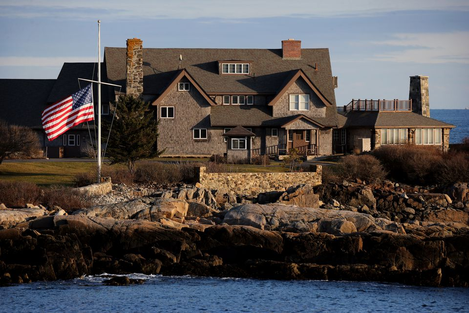 The American flag was at half staff Saturday at Walker's Point, the Bush family compound in Kennebunkport, Maine.
