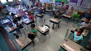 A first-grade classroom at the McGlynn Elementary School in Medford.