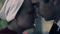 "Elisabeth Moss and Max Minghella in Hulu's ""The Handmaid's Tale"""