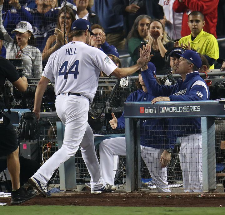 cbdd5ac49445 Dodgers starter Rich Hill was cruising along with a 4-0 lead when he exited