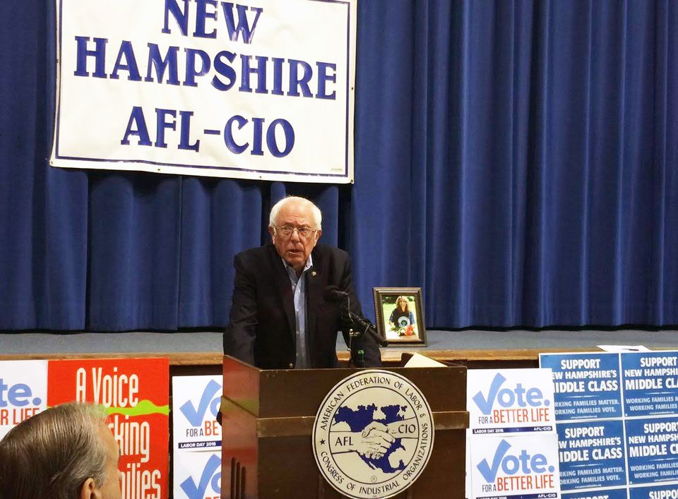 Sanders at a Labor Day breakfast in New Hampshire.