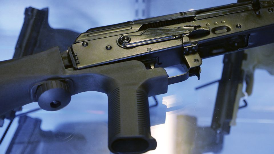 "A device called a ""bump stock"" was attached to a semi-automatic rifle at the Gun Vault store and shooting range in South Jordan, Utah."