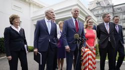 President Biden and a bipartisan group of senators spoke Thursday outside the White House in Washington. Biden invited members of the group of 21 Republican and Democratic senators to discuss the infrastructure plan.