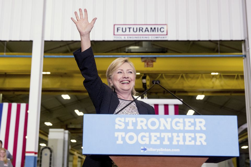 Hillary Clinton waved after a campaign appearance in suburban Detroit on Thursday.