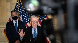 Senate Minority Leader Mitch McConnell (R-Ky.) speaks to reporters on Capitol Hill in Washington, March 16. The top Senate Republican, who has spent his career fighting campaign finance limits, has taken a lead role in challenging Democrats' sweeping voting rights bill.