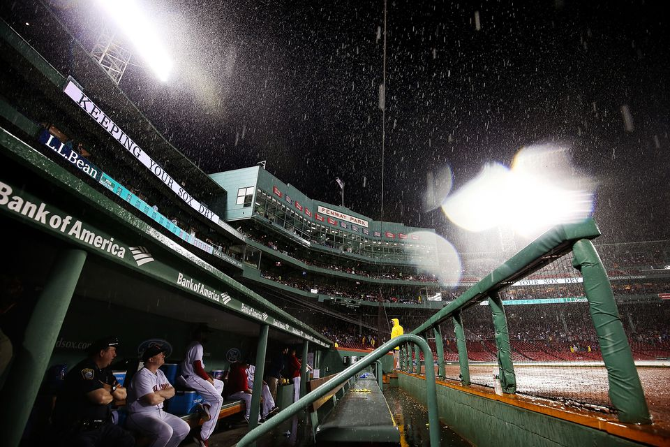 A view from the Red Sox dugout during a rain delay in June.