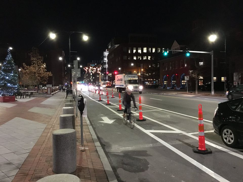 One section of protected bike lane has been installed in Central Square.