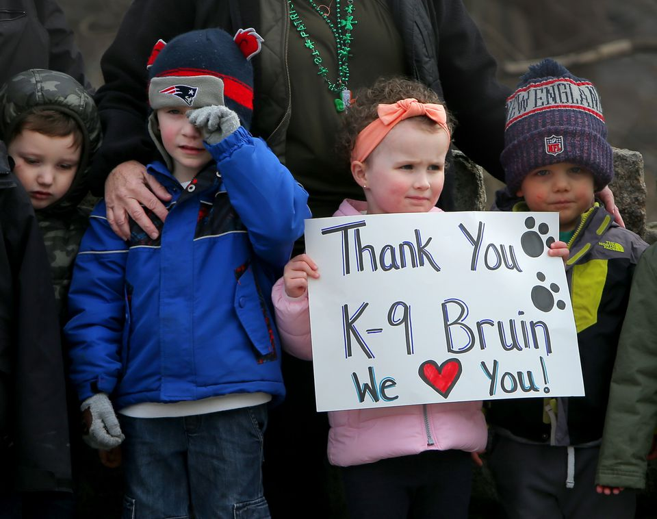Grace Whitehurst, 3, held a sign with her friends from the Douglas Waybright Preschool in Saugus.