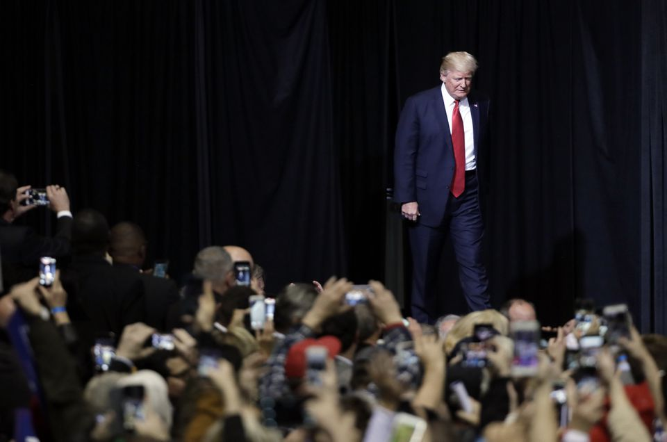 President Donald Trump walked to the stage to speak at a rally Wednesday night in Nashville, Tenn.