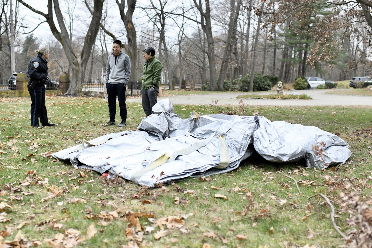 The slide landed in the front yard of a Milton home on Sunday, officials said.