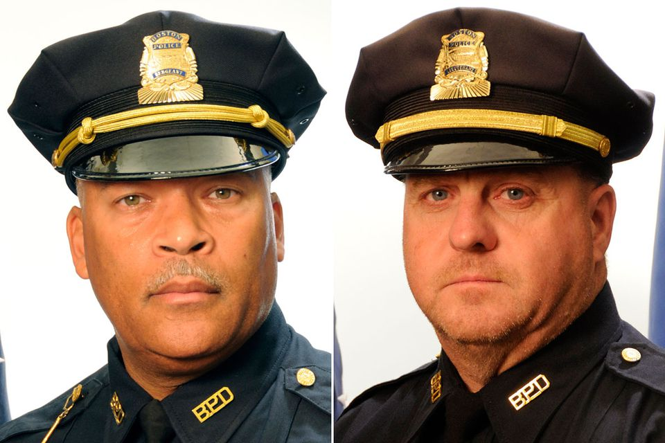 Boston police say Sergeant Detective William J. Woodley (left), who resigned last year, fraudulently collected nearly $13,000 in overtime pay between June and October 2016. The department also says Lieutenant Robert A. Dwan (right) fraudulently collected nearly $6,800 in overtime pay between March and August 2015.