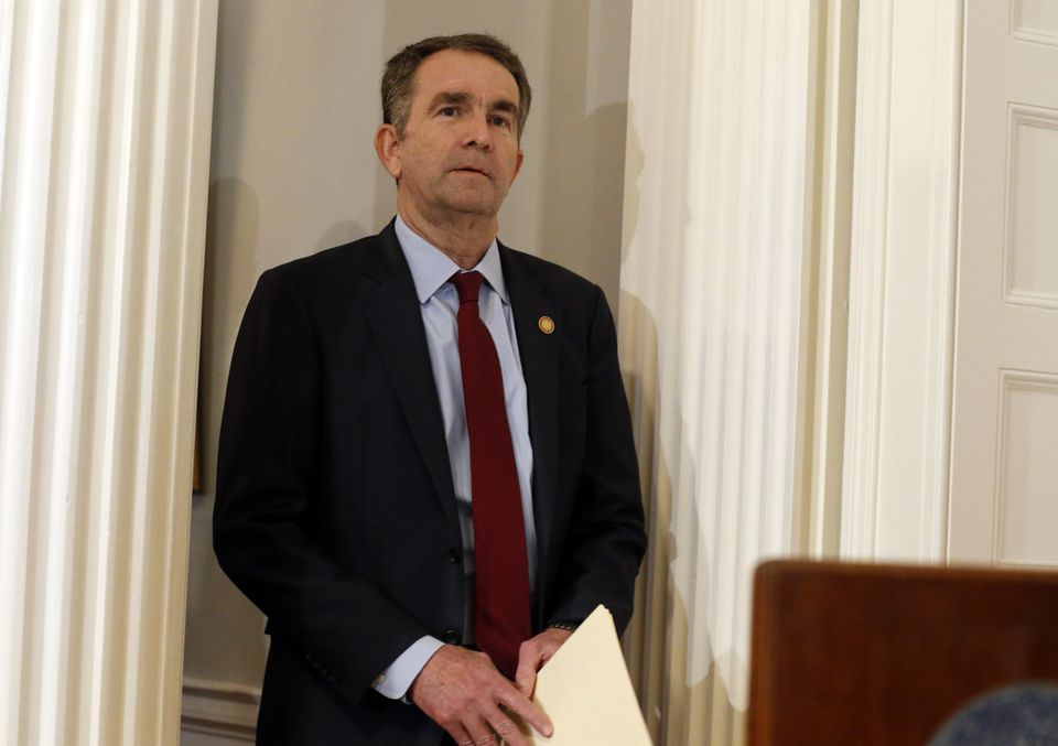 Governor Ralph Northam of Virginia arrives for a news conference in the governor's mansion in Richmond on Saturday.