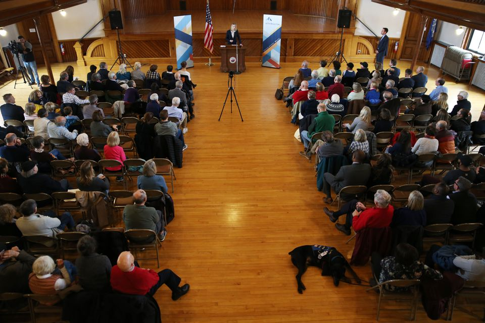 Hanna Tripp, a US Air Force veteran, spoke to the crowd during the annual Veterans Town Hall.