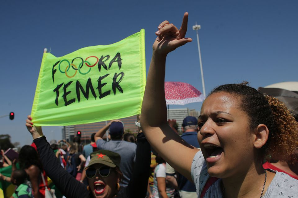 "Women screamed ""Get out Temer"" in protest against Brazil's president, Michel Temer, after a military parade marking Independence Day on Wednesday in Brasilia."